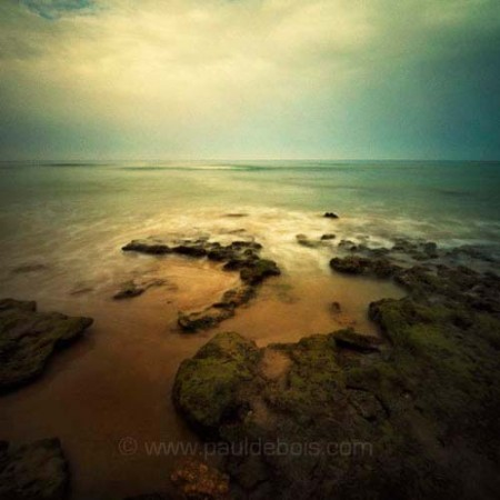 Pinhole Impressions 24 - waves breaking on rocks at Cala Puntalejo, Conil, in the south of Spain