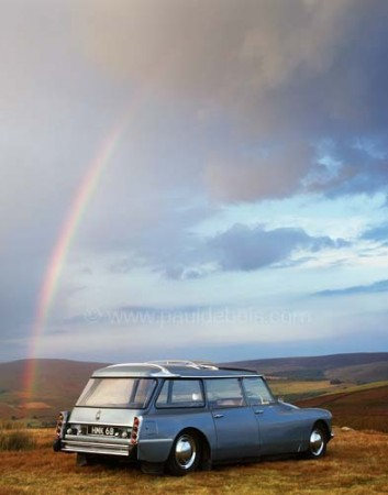 1964 Citroen ID 19 Safari with rainbow in background