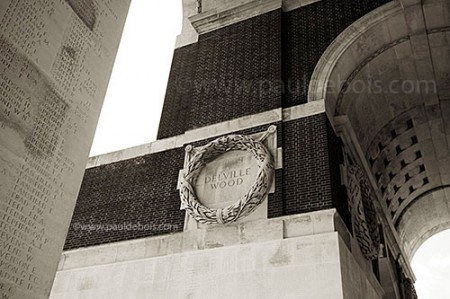 detail of the Somme memorial at Thiepval