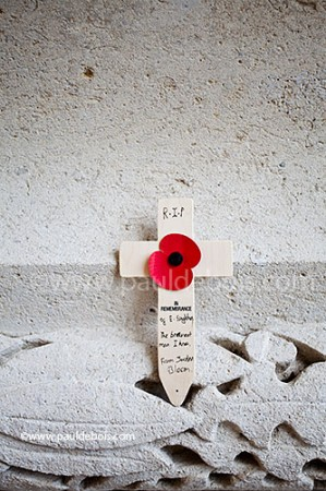 wooden remembrance cross at the Somme memorial at Thiepval