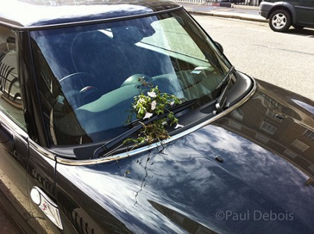 Mini Cooper with flowers on the windscreen
