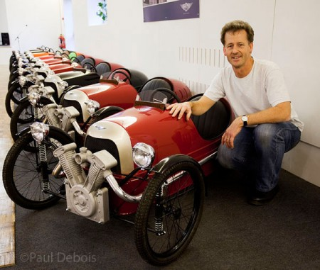 Paul Debois with three wheeler Morgan pedal cars