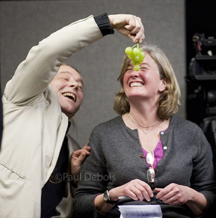 Bob Flowerdew trialing some grapes with Rosie Yeomans at the 2010 Christmas recording of Gardeners' Question Time