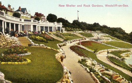 New Shelter and Rock Gardens, Westcliffe-on-Sea - colour postcard