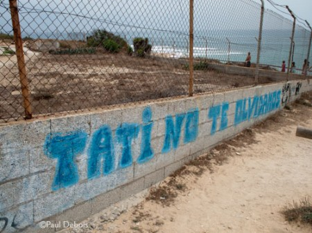 graffiti memorial near Cape Trafalgar lighthouse - 'Do not forget Tati'