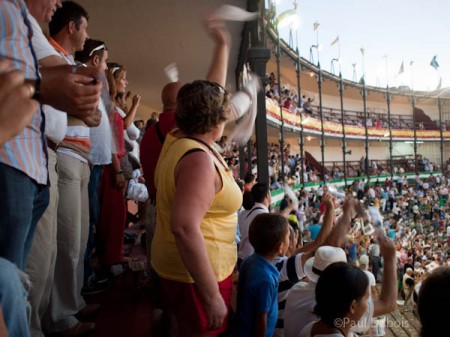 Bullfight crowd at El Puerto de Santa Maria, demanding a higher accolade for the torero from the President.