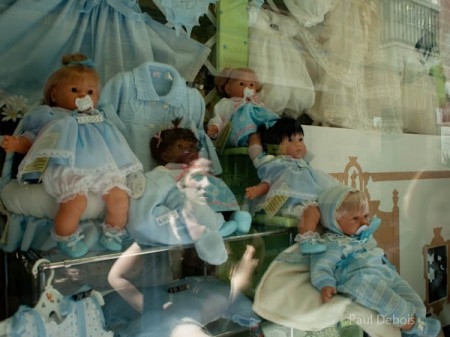 Sinister looking dolls in a shop in Cadiz
