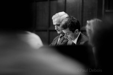 The defendants, Mr Tench and Mr Bannerman, played by Nicholas Deal and Robert Hilder at Ecocide mock trial at Supreme Court, London, 30-9-11