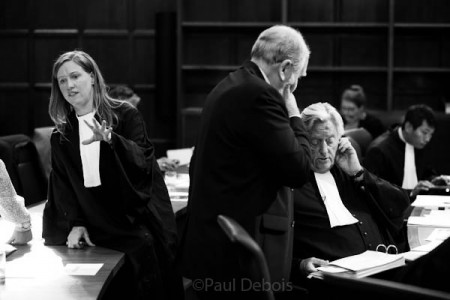 Jane Russell from Tooks Chambers, Peter Robinson, Expert witness and Michael Mansfield QC, at Ecocide mock trial, Supreme Court, London, 30-9-11