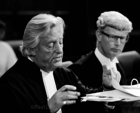 Michael Mansfield QC, with Christopher Parker QC in background, at Ecocide mock trial, Supreme Court, London, 30-9-11
