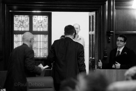 The jury leaving to decide on the verdict, Ecocide mock trial at Supreme Court, London, 30-9-11