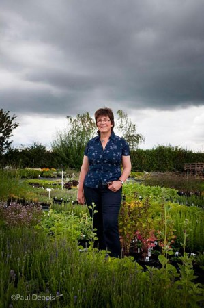 Jekka McVicar, plantswoman, organic expert and author, in her herb nursery
