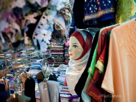 Fabric shop in Souk, Marrakech, Morocco