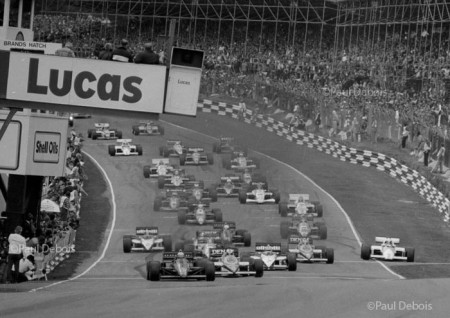 Start of the race with Alain Prost running wide