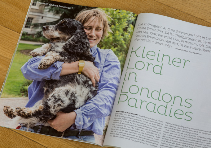 Andrea Brunsendorf with Boris at Inner Temple Gardens