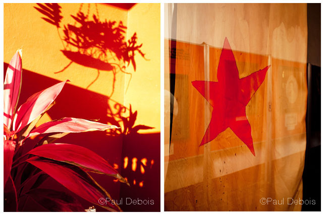 Left: Balcony, Trindad. Right: Flag, Trinidad