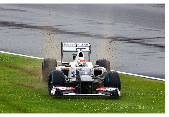 Sergio Pérez taking the scenic route in a Sauber