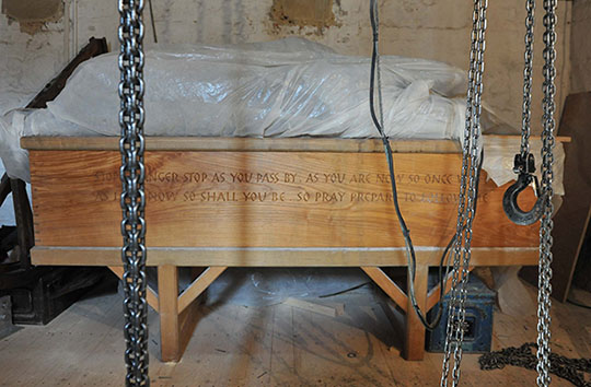 Old Jimmy Garlick's Casket with new bell ropes installed
