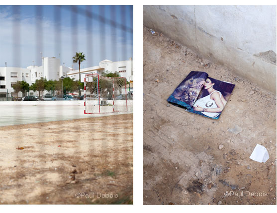 Left: Football pitch, Conil. Right: Litter, Conil
