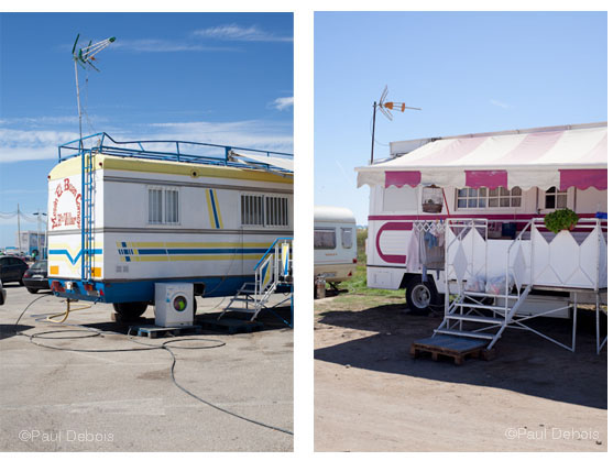 Caravans from the travelling Feria, Conil