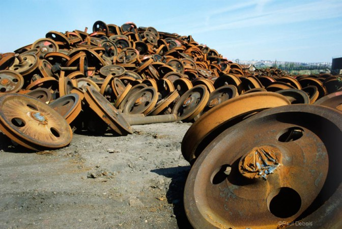 Wheels at Barry Island train scrapyard, 1980