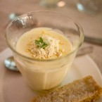 Lemon geranium posset, lemon geranium sherbet and orange thyme shortbread.