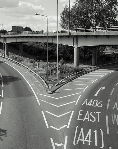 The M1, North Circular and River Brent meeting near Brent Cross