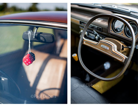 Left: Furry dice in Austin Allegro 1100 Deluxe. Right: 1975 Austin Allegro Special