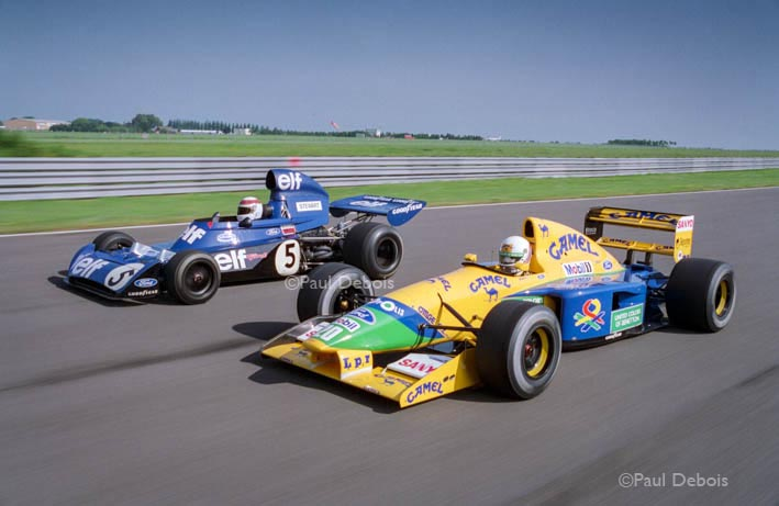 Jackie Stewart in 1973 F1 World Championship Elf Tyrrell and Martin Brundle in 1992 Benneton Ford at Silverstone
