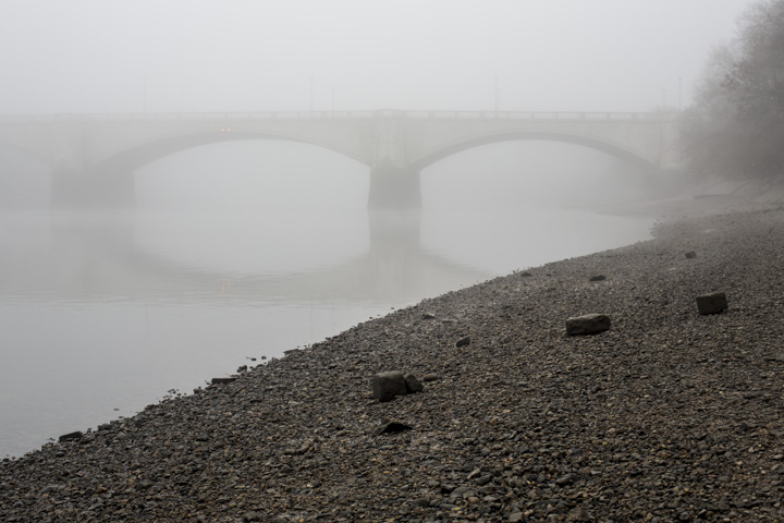 River Thames with Chiswick Bridge in fog